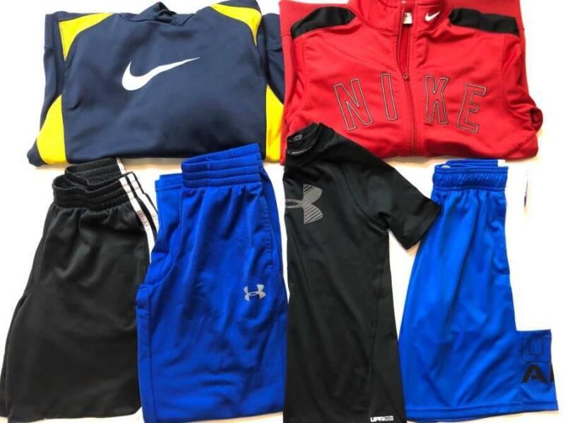 LOT Boys Sm 8 Small Athletic School Clothes NIKE UA Adidas Pants Shorts Hoodie
