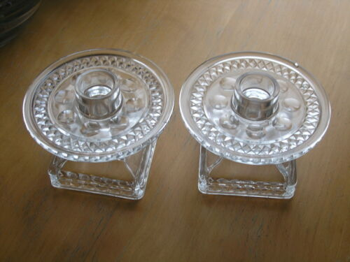"""Pair Vintage Elegant Pressed Glass Candle Holders Footed with Trays 3 1/2"""" Tall"""