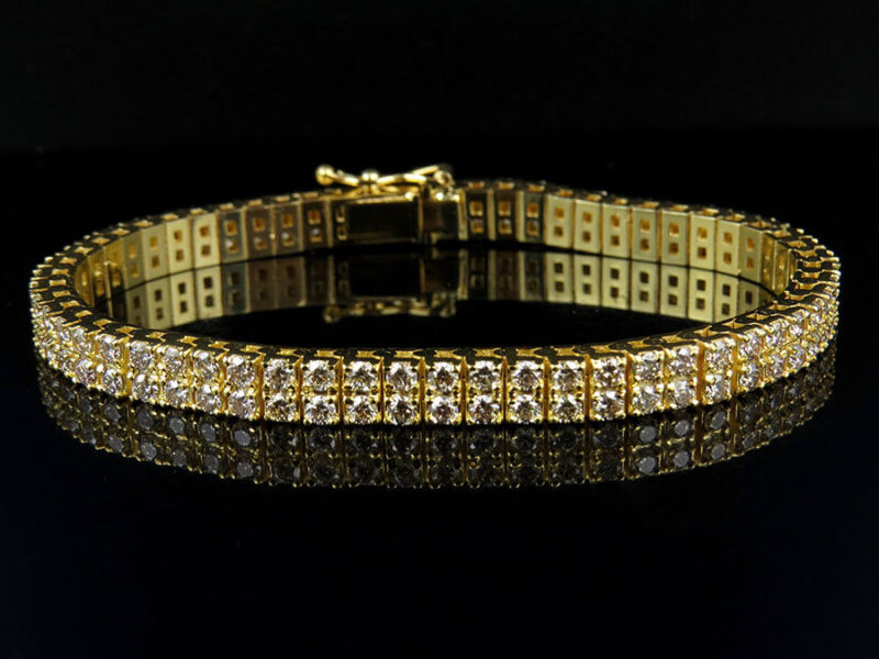 Mens 2 Row Yellow Gold 4 Prong Solid Tennis Diamond Bracelet 10.75 Ct 8.5 Inch