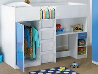 Brand new Multi bunk High sleeper Single bed with desk/ wardrobe/drawers oak effect white/blue gloss