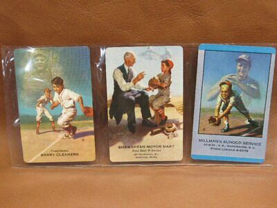 Lot 3 Vintage Baseball Swap Cards Gas Oil Automobile Advertising