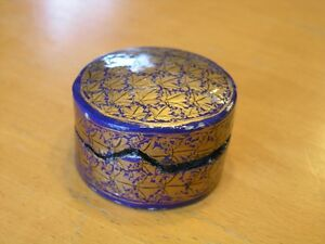 Old-Small-Round-Hand-Painted-Paper-Mache-Cobalt-Gold-Leaves-Vanity-Trinket-Box