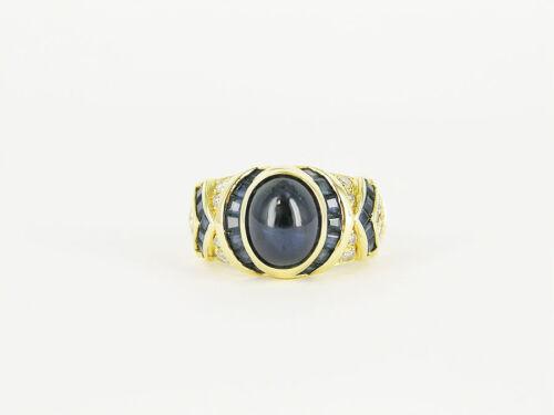 18kt Yellow Gold Sapphire & Diamond Ring
