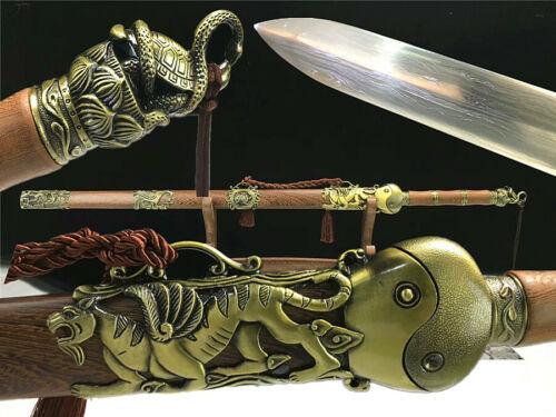 Chinese TaiChi WuShu Sword Full Tang Folded Damascus Steel Blade Practice Jian