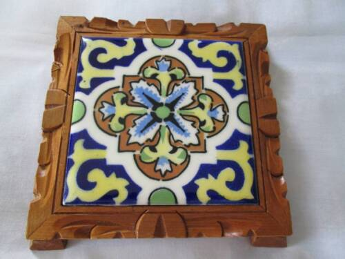 Vintage Seasa Made in Mexico Mosaic Tile Hand Carved Wood Footed Trivet