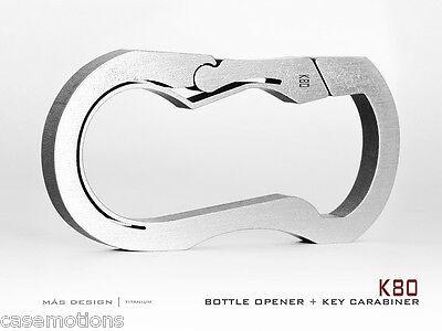 Mas Design Premium Grade 5 Titanium Key Carabiner - K80 Stone Tumbled Finish