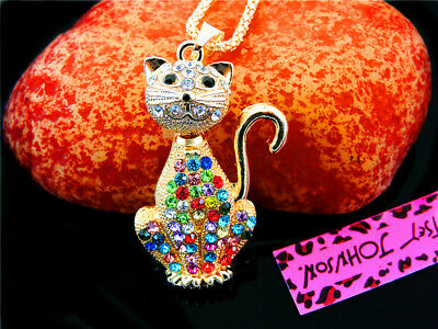 Betsey Johnson Cute Cats Pendant Necklace Sweater Chain
