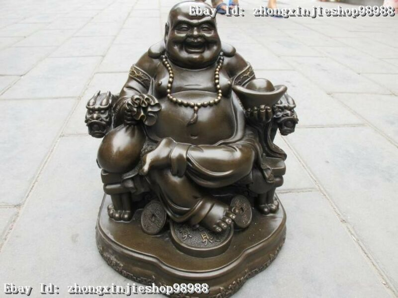 Chinese Statue Pure Bronze Money Maitreya Buddha on Dragon chair Statue