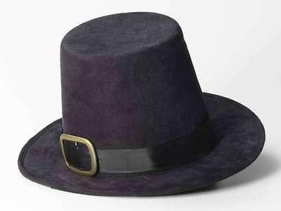 Pilgrim Hat 17th Century Black Faux Suede Men's Puritan Hat With Buckle
