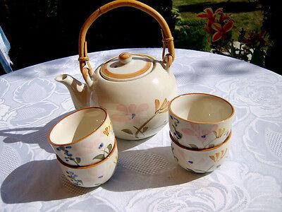 Steingut Service Keramik Porzellan 5tlg.Kanne Schalen