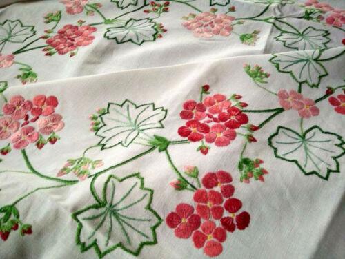 Wonderful Geranium Circle   Vintage Hand Embroidered Large Tablecloth