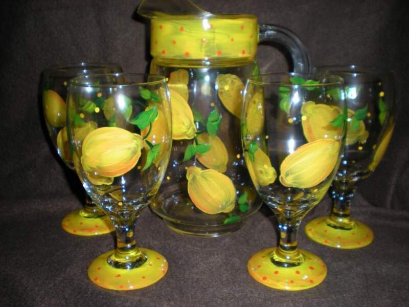HAND PAINTED LEMONS IN VIBRANT YELLOW  WATER PITCHER/4 ICE TEA GLASSES