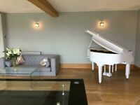 White Baby Grand Piano Digital Conversion - SELF PLAYING EFFECT