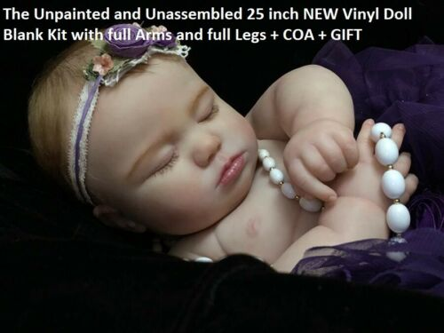 "June ~ Unpainted reborn doll kit ~ 7 Month SLEEPING 25"" ~ Full Limbs ~ COA +GIFT"