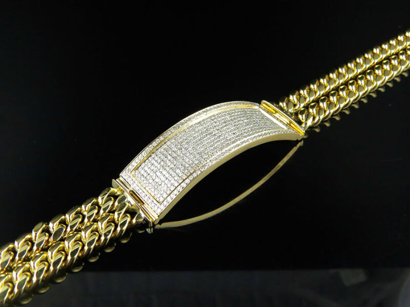 "10k Yellow Gold 14mm Id Bar Two String Miami Cuban Link 9"" Diamond Bracelet 3ct"