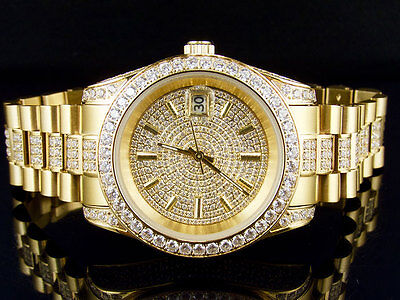 Mens 18K Yellow Gold Steel Simulated Diamond Presidential Watch 41MM PR-01