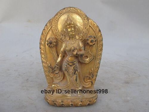 13 CM Tibet Buddhism lotus Padmapani Kwan-Yin Bronze Gilt gild Guan yin Statue
