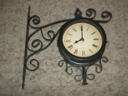 Excellent 2 Sided Wall Station Clock 12 x 12 Black Metal