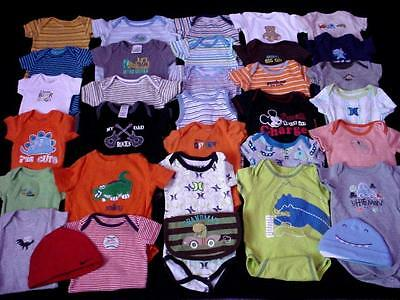 33pcs PREOWNED BABY BOY NB 0-3 3-6 MONTHS ONE PIECE UNDER T-SHIRT LOT