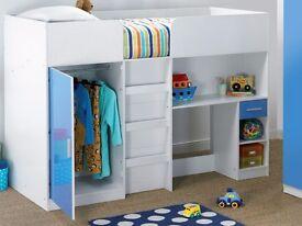 Brand New High Sleeper Single Storage Wardrobe Bed White Blue Gloss
