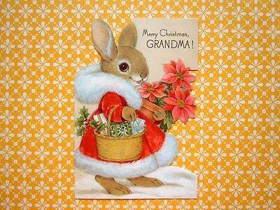 Vintage 1980 Die Cut Christmas Bunny Rabbit in Red Coat Greeting Card