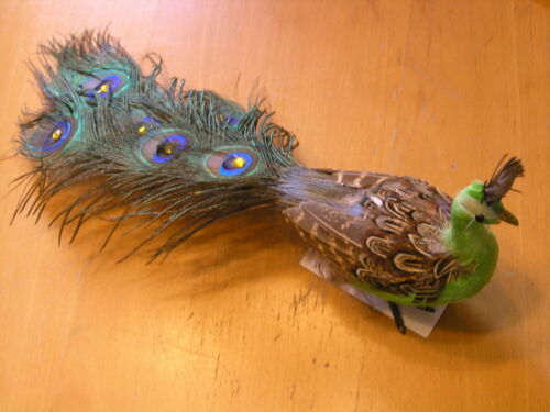 Vintage Peacock Figurine Doll w/ Real Peacock Feathers 16""