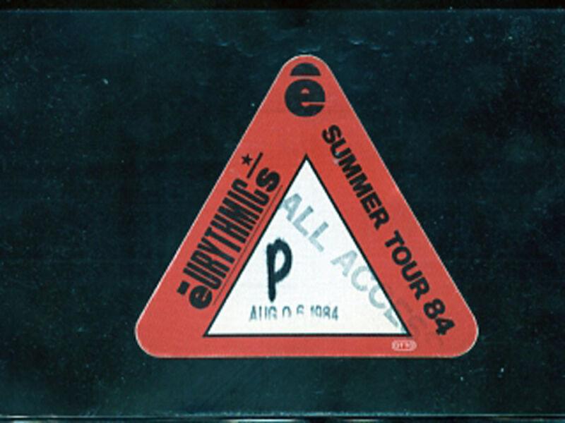 Eurythmics -1984 U.S. Tour - satin backstage pass - Mann Music Center