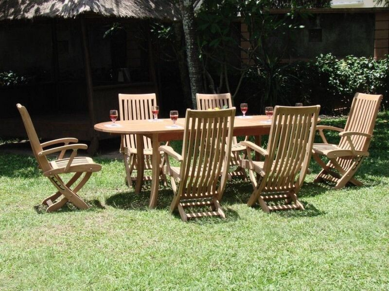 """7-piece Outdoor Teak Dining Set: 94"""" Oval Ext Table, 6 Reclining Arm Chairs Wraw"""