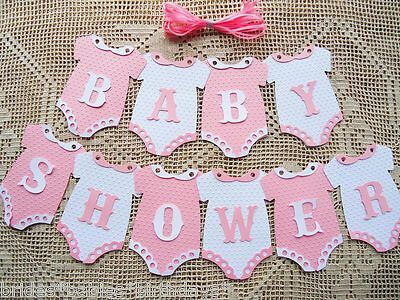 Diy Baby Shower Banner (10 Bunting Flags Banners Garland BABY SHOWER Pink White Girl DIY)