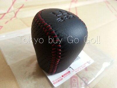 Toyota MR2 SW20 Black Leather Red Stitch Shift Konb 5 Speed NEW Genuine Parts