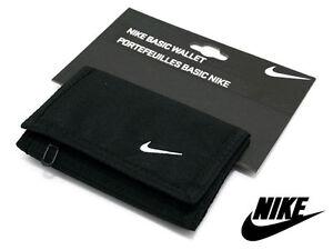 Nike Basic Swoosh Wallet Tri-Fold Black Mans Womans Unisex Money New