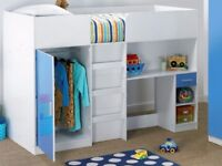 New Other Condition High Gloss Carleton High Sleeper White with Blue Front Bunk Bed Single Sleeper