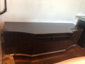 Brown wooden entertainment cabinet with glossy finish