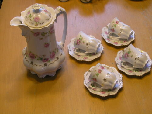 Antique M Z Austria 10pc Demitasse Chocolate Set Teapot 4 Cups 4 Saucers Roses