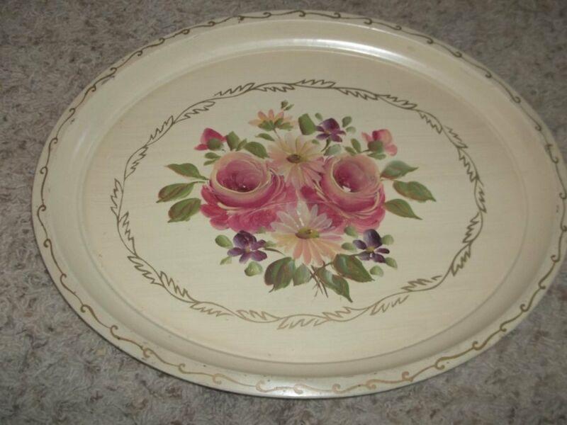 """Nice Vintage Cream Floral TOLEWARE Tray 14 x 18"""""""