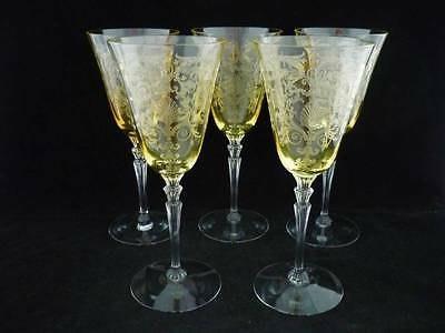 FOSTORIA VERSAILLES - 5 TOPAZ YELLOW WATER GOBLETS/GLASSES