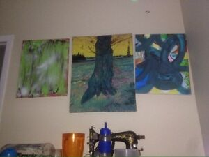 3 abstracts paintings