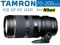 Tamron 70-200mm f2.8 SP VC USD Telephoto Zoom Lens for Nikon - Boxed As New