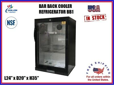 Commercial Back Bar Cooler Refrigerator Glass Door Display L24 X D20 X H35 Nsf
