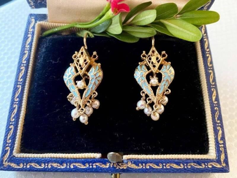 Victorian Earrings 14k Heart Shpd Enamel Pearl Drop  NICE!