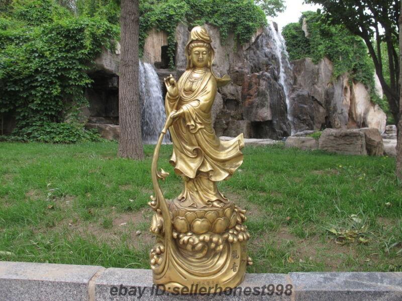 Tibet Tibetan Buddhist Bronze Dripping Guanyin vase Bodhisattva buddha statue