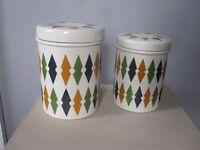 Pair of vintage T G Green ' Roulette' design lidded storage jars