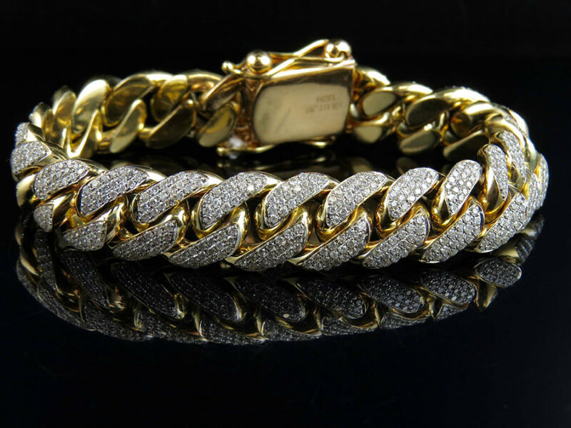 Mens Solid 10k Yellow Gold Miami Cuban Link 14 Mm Diamond Bracelet 10.5 Ct