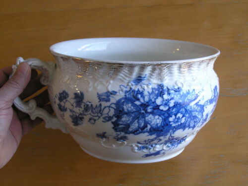 Antique Wedgwood & Co. England Royal Semi-Porcelain Iona Chamber Pot Blue White