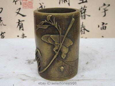 Chinese Bronze Copper Magpie Bird Spider Bamboo Literati brush pot pencil vase