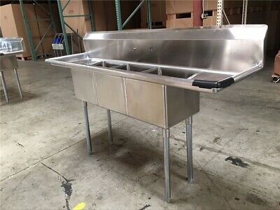 Brand New Nsf Certified 90x24 Stainless Steel 3 Compartment Sink