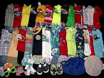55pc USED BABY BOY NEWBORN 03 36 MONTHS SPRING SUMMER CLOTHES LOT FreeShip