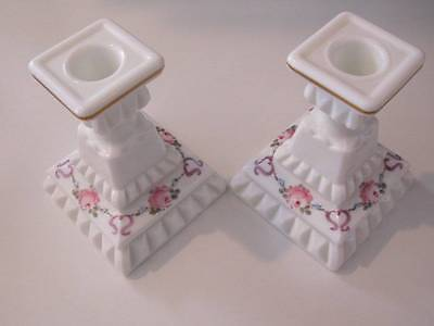 Floral Westmoreland Milk Glass Candle Stick Holders Painted Bows & and Roses