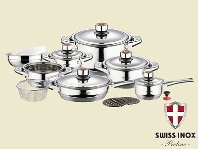 SWISS INOX 18 Pc Stainless Steel Cookware Set Fry Pots Pans