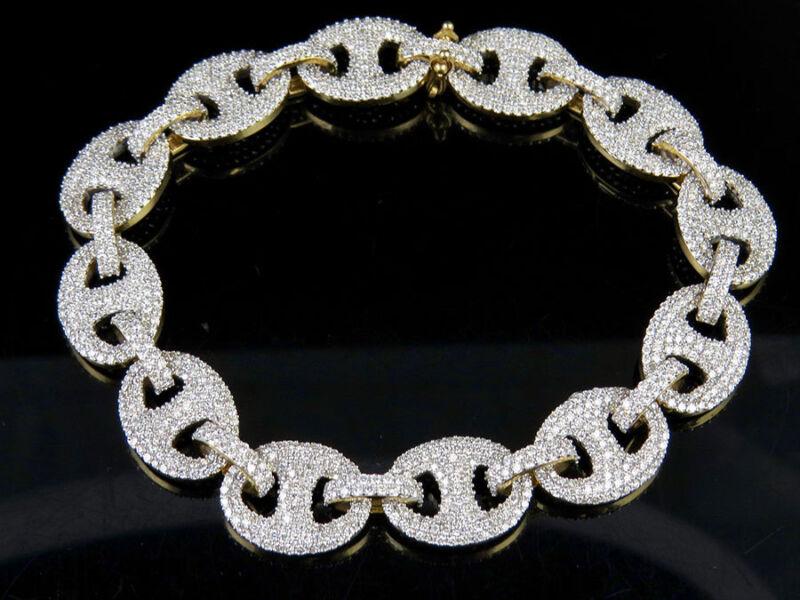 """10k Yellow Gold Genuine Diamond Puff Mariner Gg 12mm Bracelet 12 1/2 Ct 8.5"""""""
